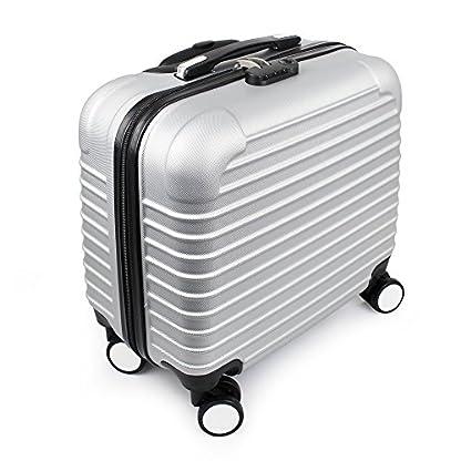Todeco – Trolley de Viaje, Equipaje de Mano – Tamaño: 42 x 40,5 x 23 cm – Material: Plástico ABS – Esquinas moldeadas protegidas, de mano 46 cm, Plateado, ABS
