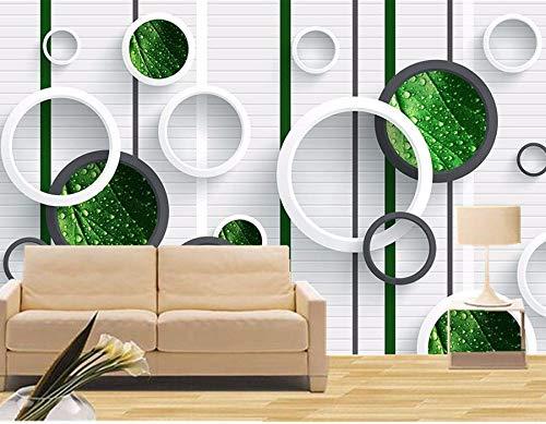 Yosot Große Wandmalereien Phantom Grünes Blatt Mit Wassertropfen Kreis 3D Tapeten Wohnzimmer Fernseher Sofa Wand Schlafzimmer Moderne Tapete-250Cmx175Cm