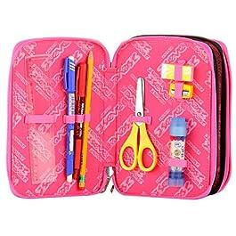 Astuccio 3 Scomparti – Seven – ROMANTIC – Nero Rosa – con matite, pennarelli