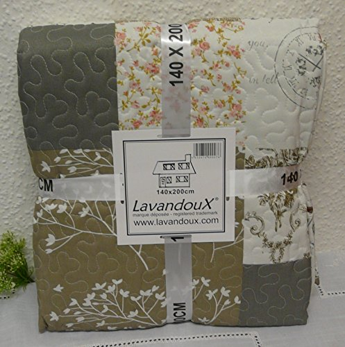 Tagesdecke Plaid Quilt Decke Patchwork beige / grau Paisley 140 x 200 cm
