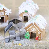 Girasool 3pcs Christmas House Cookie cutter set, mini Ginger House biscotti, in acciaio INOX, cioccolato Little House Biscuit Mold, DIY baking Decorating Tools