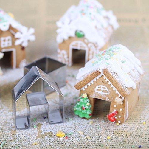 Girasool Keksausstechformen-Set, Weihnachts-Haus, Mini-Ingwer-Haus, Edelstahl, Keksausstecher, Schokolade, kleines Haus, DIY Backen, Dekorieren Werkzeuge