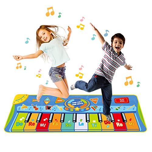 Funkprofi Piano Matte für Kinder, Tanzmatten Musikmatte Klaviermatte Keyboard Matten 10 Klaviertasten 8 Instrumente rutschfest Spielteppich für Jungen Mädchen 130 x 48 cm