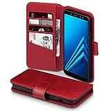 Terrapin, Kompatibel mit Samsung A8 2018 Hülle, [ECHT LEDER] Brieftasche Case Tasche mit Standfunktion Kartenfächer und Bargeld - Rot