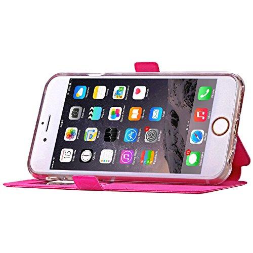 iPhone Case Cover Quadrat-Diamant-Gitter-Muster PU-lederner Fenster-Fall Weicher TPU Abdeckungs-Standplatz-Fall mit Karten-Schlitz für IPhone 6 6S ( Color : Orange , Size : IPhone 6S ) Rose Red