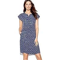 e70d483c23 Mantaray Womens Navy Patchwork Print V-Neck Short Sleeve Mini Dress