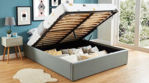 HOMIFAB Lit Coffre 160x200cm Gris Clair + sommier à Lattes - Collection Handy.
