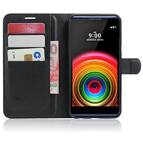 SMTR LG X power Wallet Tasche Hülle - Ledertasche im Bookstyle in Schwarz - [Ultra Slim][Card Slot][Handyhülle] Flip Wallet Case Etui für LG X power