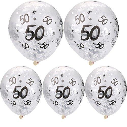 Dragon868 [5 Stücke 30 40 50th Happy Birthday Alter Konfetti Gefüllt Ballons Hochzeit Party Decor Abschlussball Dekoration (C, Ballons) (Happy 50th Birthday-dekorationen)