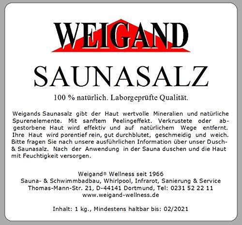 Salz Massage (Weigand Saunasalz Natur Pur 1 kg I Laborgeprüft 100% natürlich - 100% vegan I ohne Farb- und Konservierungsstoffe I Massagesalz I Peeling I Salz I Massage I Sauna I Saunazubehör)