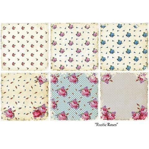 Paper Moon - Papel Scrapbooking Calidad x 6 hojas de 20 cm x 20 cm - Rustic Roses