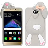 HuaWei Y5 II Conejo Case, Vandot Fashion 3D Lovely Cartoon Buck Teeth Bunny Rabbit Rubber Series Soft Silicone Back Case Cover para HuaWei Y5 II (HuaWei Y5 2) Case, Protección Silicona Resistente Carcasa Funda Tapa TPU Gel caja del teléfono Cartoon Accessories Set Funny Buck Tooth Conejito Phone Case Skin Shell - Color Gris