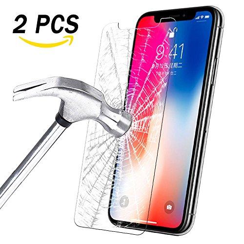 iPhone X Schutzfolie, Panzerglas iPhone X Folie Orlegol [2 Stück] [9H Härte] [Blasenfrei] [3D Touch Kompatibel] Anti-Kratzen Displayschutzfolie für Apple iPhone X Screen Protector (Transparent)