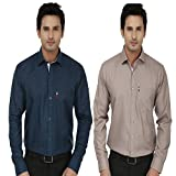 Fizzaro - Regular fit polycotton Shirts for mens - Pc blue & Brown