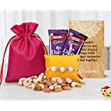 Tied Ribbons Rakhi Gift Combo For Rakshabandhan (Designer Rakhi,Almonds,Cashew,Rasins,2 Dairy Milk Chocolates,...