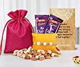 Tied Ribbons Rakhi Gift Combo for Rakshabandhan (Designer Rakhi,Almonds,Cashew,Rasins,2 Dairy Milk Chocolates,Rakhi Card and Roli Chawal)