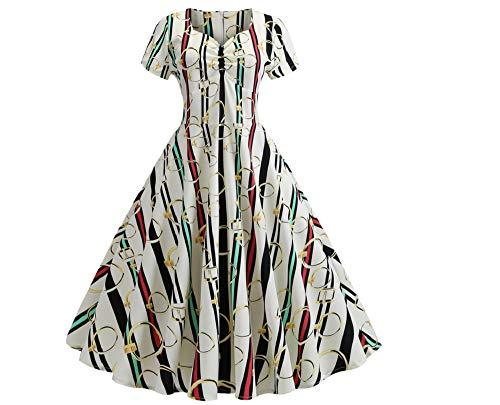 LYQPD Women es 50s 60s A Line Rockabilly Dress Cap Sleeve Floral Vintage Swing Party Dress,White,L -