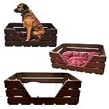 GalaDis Hundekorb Katzenkorb / Katzenbett aus Holz mit Kissen / Hundebett / Hundesofa / Wurfkiste - Shabby Chic / Landhaus