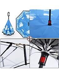 Aigumi Parapluie coupe-vent pliable Design innovant inversé Double couche et protection solaire, bleu ciel
