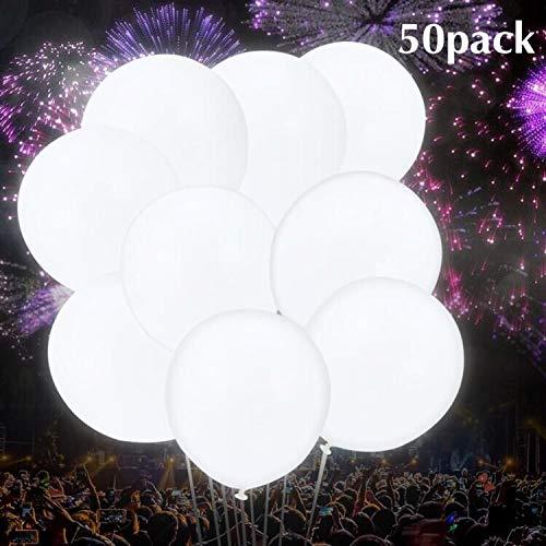 Thinkcase Leuchtende Luftballons 50 Stück Weiß Blinken LED Ballons für Hochzeit Weihnachten Geburtstag Luftballon Party Deko (Weiß)