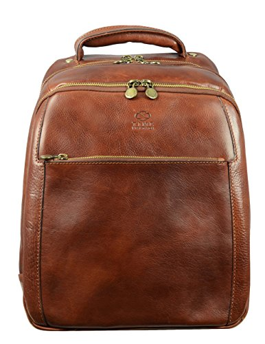 Brown Hand-Crafted Genuine Leather Casual Backpack Unisex Daypack 13 inch Laptop Backpack Rucksack for Men Women School College Backpack Travel Backpack - Time Resistance