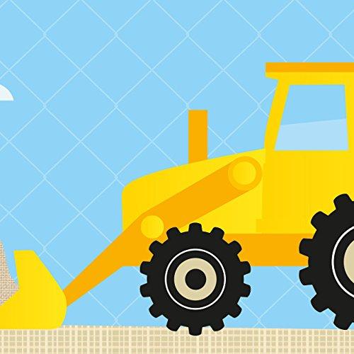 anna wand Bordüre selbstklebend UNDER CONSTRUCTION - Wandbordüre Kinderzimmer / Babyzimmer mit Baustellen-Motiv in Blau Gelb – Wandtattoo...