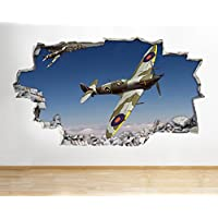 Z084 Spitfire Hurricane Aeroplane Army Boys Wall Decal Poster 3D Art Stickers Kids Bedroom Baby Nursery Cool Livingroom Hall Boys Girls (Medium (52x30cm))