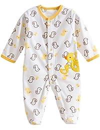 Happy Cherry Mono Pijama de Forro Polar Pelele Ropa de Una Sola Pieza con Pie Cubierta Cartoon Infantil Jumpsuit Baby Romper para 0 - 12 Meses Bebés Niñas Niños Unisex