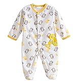Happy Cherry Mono Pijama de Forro Polar Pelele Ropa de Una Sola Pieza con Pie Cubierta Cartoon Infantil Jumpsuit Baby Romper Talla 3# para 0 - 3 Meses Bebés Niñas Niños Unisex - Pato