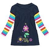 YiZYiF Mädchen Blumen Langarm Baumwolle Kleid T-shirt Kleid Gr. 98 104 110 116 122 128 Marineblau 122-128