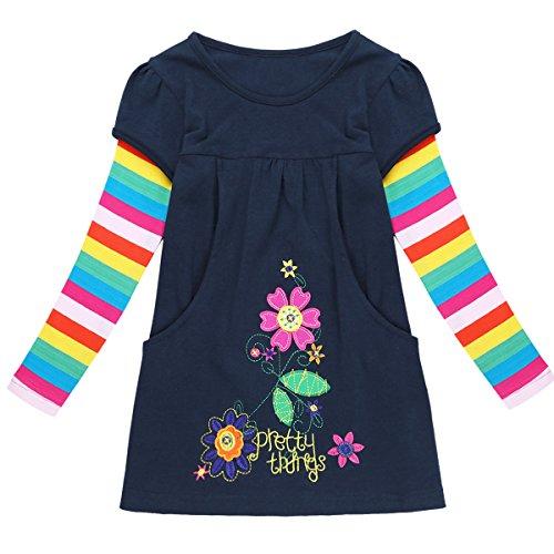iEFiEL Mädchen Kleid Langarm Baumwolle Kinder Prinzessin Kleider Herbst Winter Kleidung T-shirt Kleid Marineblau 116-122 (Herbst Kleidung)