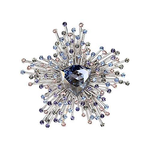 Y-WEIFENG Elegante Kristallperle Brosche Weihnachtsschneeflocke Desugn Brosche Pin Schal Mantel Clip Schal -