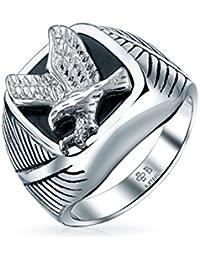 Bling Jewelry Patriotic Mens Black Enamel Stainless Steel Eagle Ring