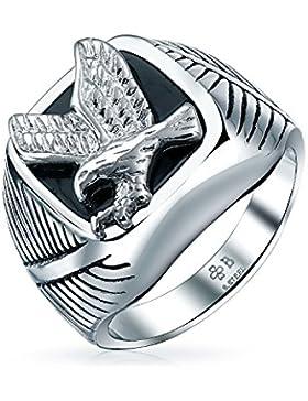 Bling Jewelry patriotischen Mens schwarzer Emaille Edelstahl Eagle Ring