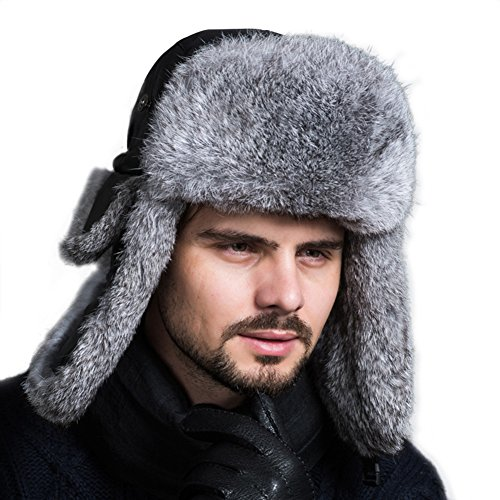 Ferand Unisex Real Rabbit Fur Trapper Taslon Nylon Russian Ski Winter Hat