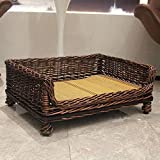 LNDDP Wicker Dog Bed, Waterproof Durable Rattan Elevated pet bed, Teddy Golden, Small | Medium-E XS