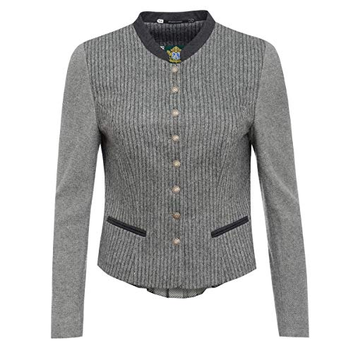 Hammerschmid Damen Trachten-Mode Jacke Gerlos in Grau traditionell, Größe:36, Farbe:Grau