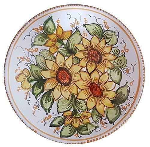 Piatto a muro decorativo o da portata/centrotavola in ceramica artistica vietrese dipinto a mano (maiolica made in italy); diametro cm. 37, altezza cm. 5.