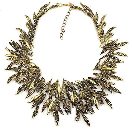 Kitzen Gold Silber Metall Blatt Kette Chunky Bib ErkläRung Kragen Halskette Willow Mode PersöNlichkeit Weihnachtsgeschenk FüR Sie , A (Reize Schmuck Großhandel)
