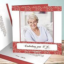 Einladungskarten 80 Geburtstag Vorlagen, Herbstwind Foto 45 Karten,  Quadratische Klappkarte 145x145 Inkl. Weiße