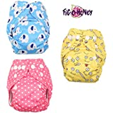 Fig O Honey Reusable New Born Baby Cloth Diapers | Multi-Color Baby Fabric Nappy With Free Absorbent Inserts | Washable And Elastic Printed Modern Cloth Nappies With Insert Liners | ( Elephant, Emoji & Pink Polka Dots Print Combo )