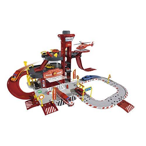 Majorette 212050019 Creatix Rescue Station plus 5 Fahrzeuge, Spielset mit großer Parkgarage und 5 Spielzeugautos, 72 x 72 x 35 cm, Die-Cast (Garage Spielzeug)