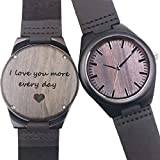 Customized Engraved Wooden Watch, Casual Handmade Wood Watch for Men Women Family Friends