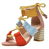 Sandales Femmes Talons Été Poissons Bouche Soiree Lacets Coloré Chaussures Bride Cheville Lanière High Heels Casual Romaines 6.5 CM Talon Bleu Orange Rose Point 35-43 EU Rose 40...