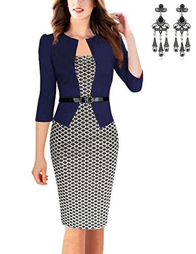 MODETREND Donna Vestiti Manica a 3/4 Elegante Stampato Floreale Abito con Cintura Giuntura Pannello Esterno dell'anca Pacchetto Abiti Vestito da Matrimonio Sera (XXL, blu 2)