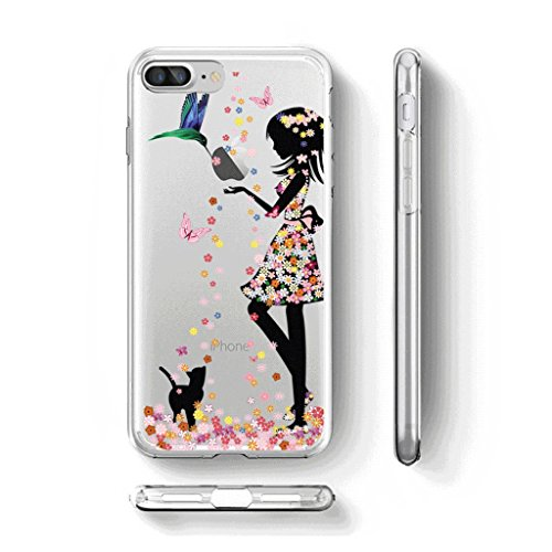 Cover Custodia Per iPhone 7 plus / 8 plus, WenJie Carino Gattino Trasparente Silicone Sottile Back Case Molle di TPU Trasparente per Apple iPhone 7 plus / 8 plus WM49