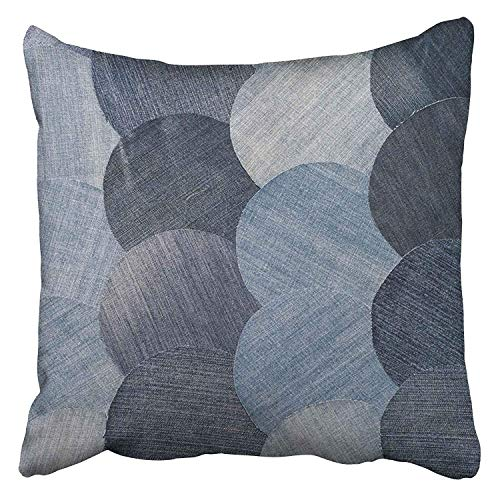 DAICHAI Kopfkissenbezug Decorative Throw Pillow Covers Cases Blue Abstraction Jeans Patchwork Pattern Denim Details Homemade Old Patch Vintage 18 x 18 Inch Pillowcases Case Cover Cushion Two Sided -