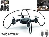 Jasonwell FY603 Min Quadrocopter mit Kamera 720P, WLAN FPV Drohne 2,4G 6-Achsen-Gyroskop, 4-Kanäle, kleiner ferngesteuerter Helikopter mit Höhenhaltung und Headless-System (2 Akkus), gute Wahl für Drohnentraining (schwarz)