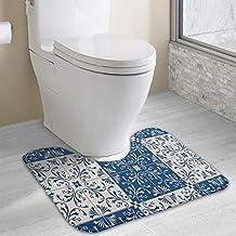 Werert - Alfombra de baño Antideslizante con diseño de Mosaico de Estilo Turco portugués marroquí en Forma de U y Espuma viscoelástica Suave para baño, ...