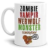 Tassendruck Halloween-Tasse Zombie, Vampir, Werwolf, Monster - Eichhörnchen - Witzig/Lustig / Süß - Weiss